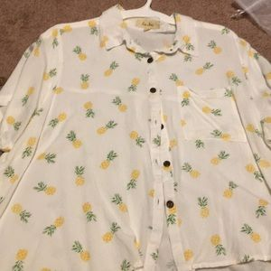 Pineapple button up crop blouse
